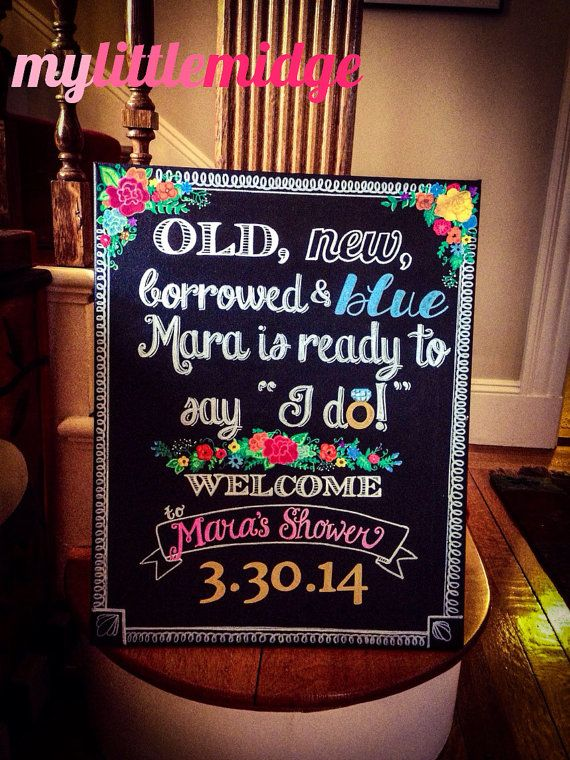 Old New Borrowed and Blue Bridal Shower Welcome by mylittlemidge, $58.00