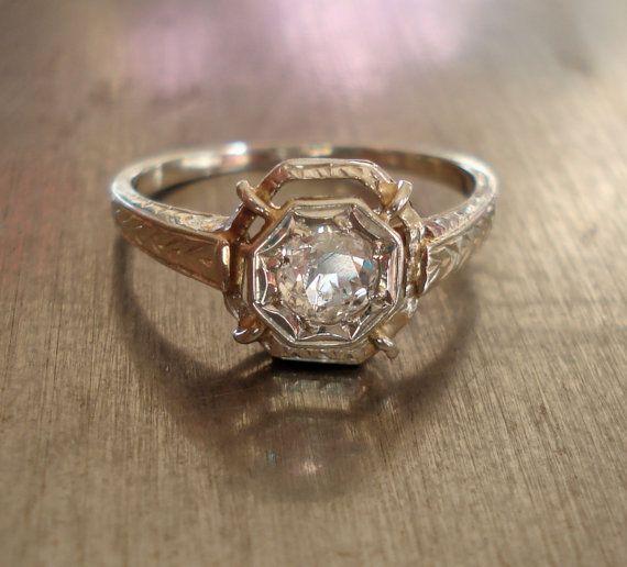 Antique Art Deco Diamond Engagement Ring by AntiqueSparkle on Etsy