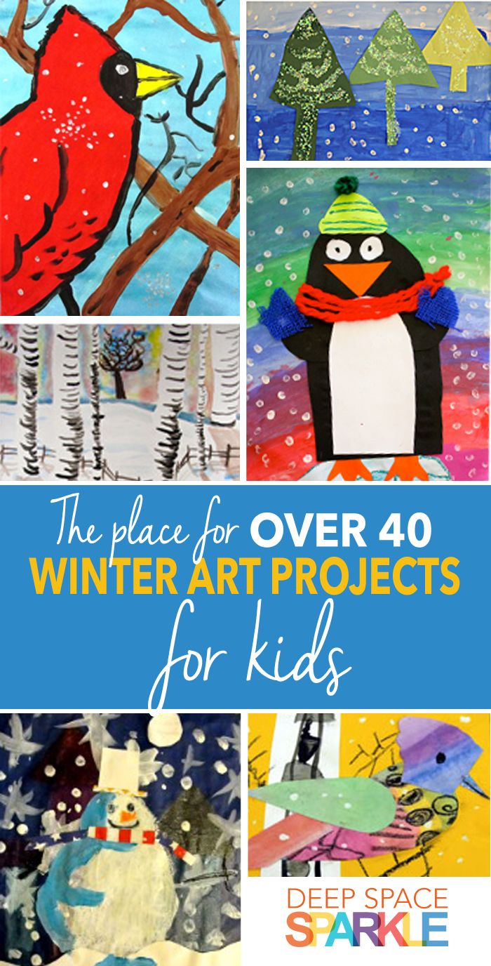 A great resource all in one place for over 40 winter art projects for kids. Collages, watercolor, mixed media art and more.