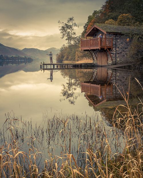 Fishing at the Duke of Portland boathouse, Ullswater Lake, England (by ColinSBell). For more great #luxury #garages #boathouses visit www.lepagejohnson.com Click our design center.... www.charlottelakenormanrealestate.com