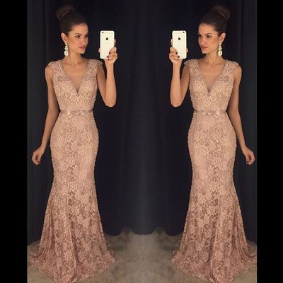 2016 Hot Sales Deep V-neck Prom Dresses,Lace Prom Dresses,Mermaid Evening Dresses,Party Gowns