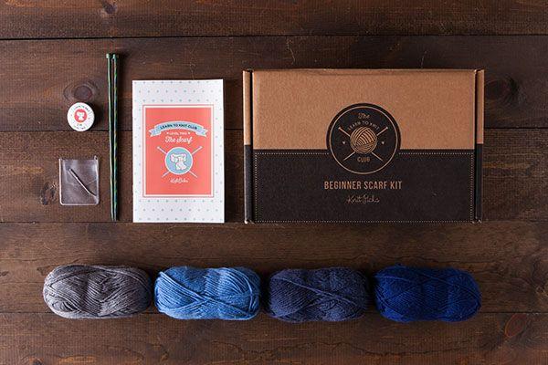 Learn to Knit Club, Level 2: Scarf - Blue  *Afflink*