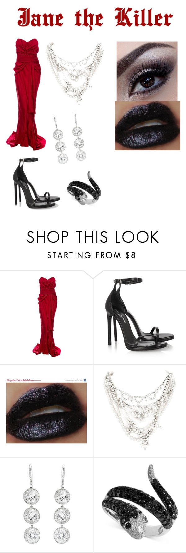 """""""Jane the Killer"""" by velvet-volturi ❤ liked on Polyvore featuring Christian Dior, Yves Saint Laurent, Tom Binns, Andrea Fohrman and Effy Jewelry"""