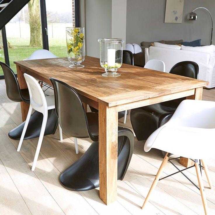 Table en bois de teck recyclé 6 à 8 couverts   Table bois ...