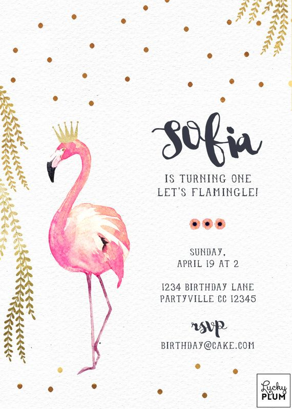 A lovely sweet pink watercolor flamingo wearing a gold foil tiara crown to celebrate a special munchkins birthday. Adorned with gold foiled polka