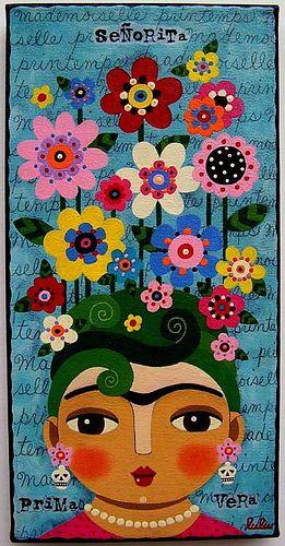 Señorita Frida Kahlo Primavera painting by LuLu by MyPinkTurtleStudio, via Flickr