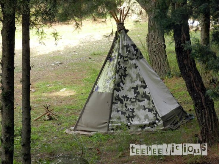 camouflage for a teepee for wild boys! Find them: www.facebook.com/teepeelicious