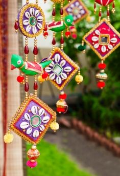 add fun and colorful hangings to get an indian interior design style