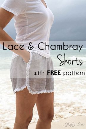 Love! Lace, Chambray and Pockets on these shorts - all the must haves. Sew these DIY shorts with a free pattern from Melly Sews