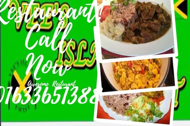 Call Vees Island Twist Restaurant now! Menu: Ackee& Saltfish, Curry Goat & Rice and Peas, Oxtail Rice & Peas, Fish and Rice etc.  Located at 246 Corporation Road, Newport Wales, NP190DZ  Contact#: 07801527123 or 01633661388.