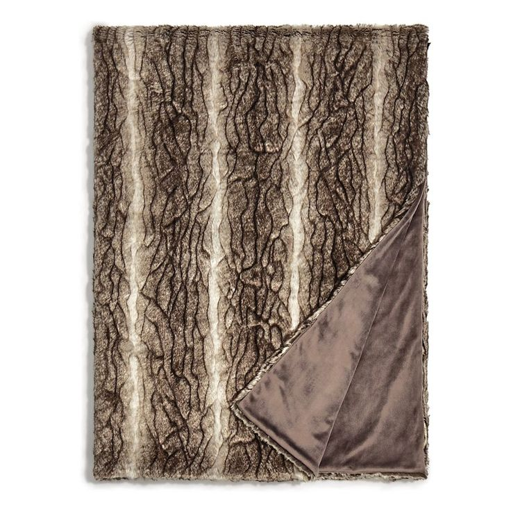 Hudson Park Collection Textured Faux Fur Throw - 100% Exclusive MINK BROWN $280 #HudsonPark