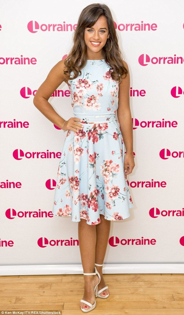 Sunkissed stunner: Georgia May Foote looked radiant and relaxed in a floral mini dress for her appearance on Lorraine, on Tuesday