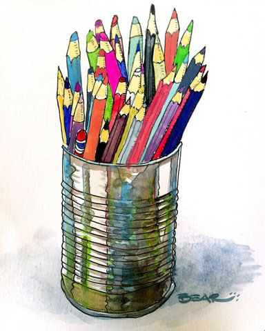Draw a can with pencils in...