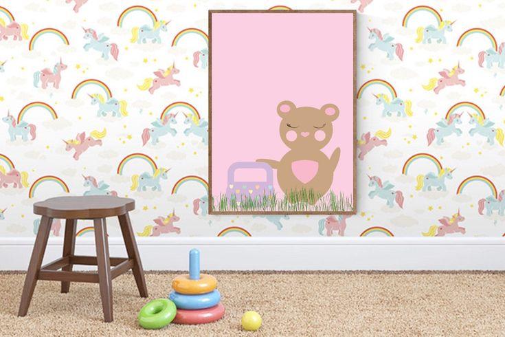 Teddybeer afdrukken - teddy muur decor - zeemeermin gift - A4 afdrukken - teddybeer kwekerij - teddy kwekerij decor - meisjes kamer decor - kinderen kamer deco