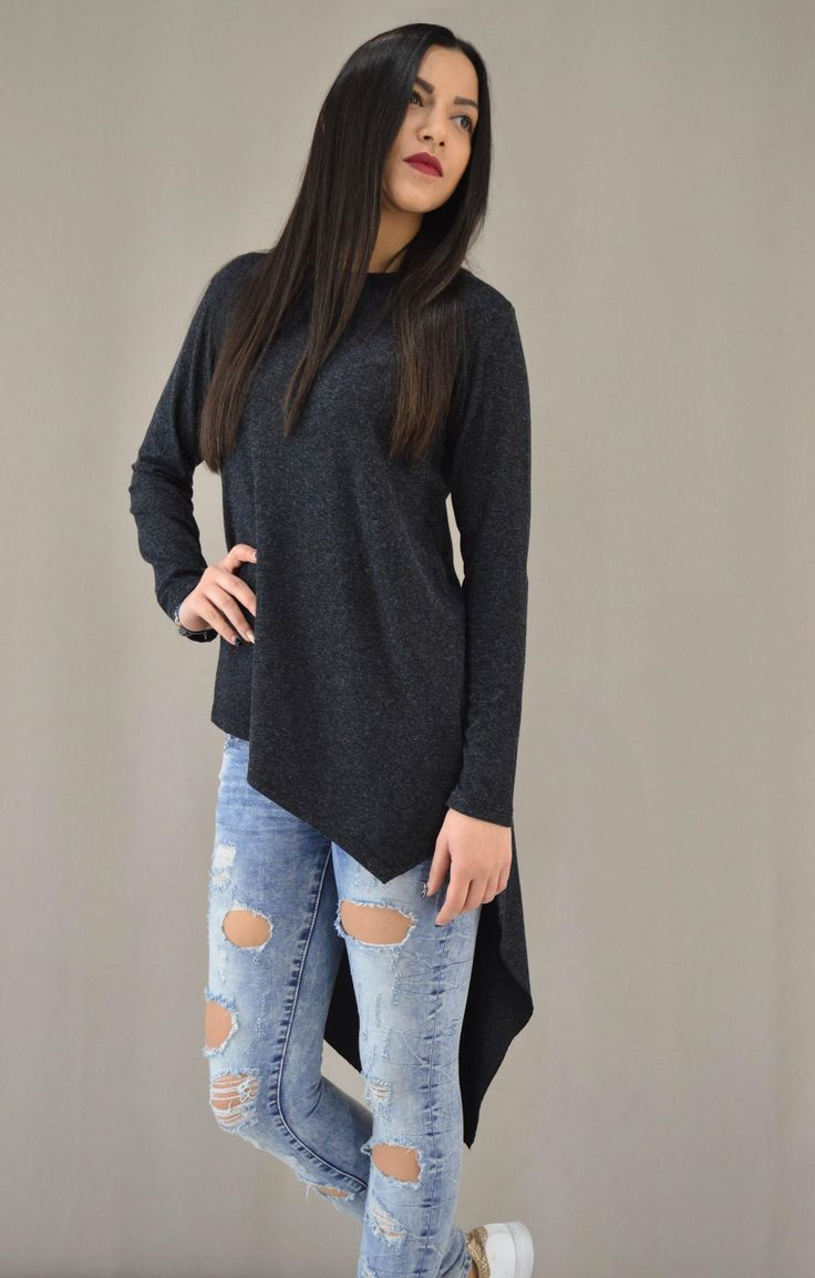 Γυναικεία μπλούζα ασύμμετρη MPLU-0871-crb   Μπλούζες > Μπλούζες Ανθρακί