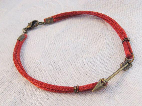 Arrow FSU bracelet - bronze charm garnet silk cord Florida State FSU Seminoles bracelet. $7.00, via Etsy.