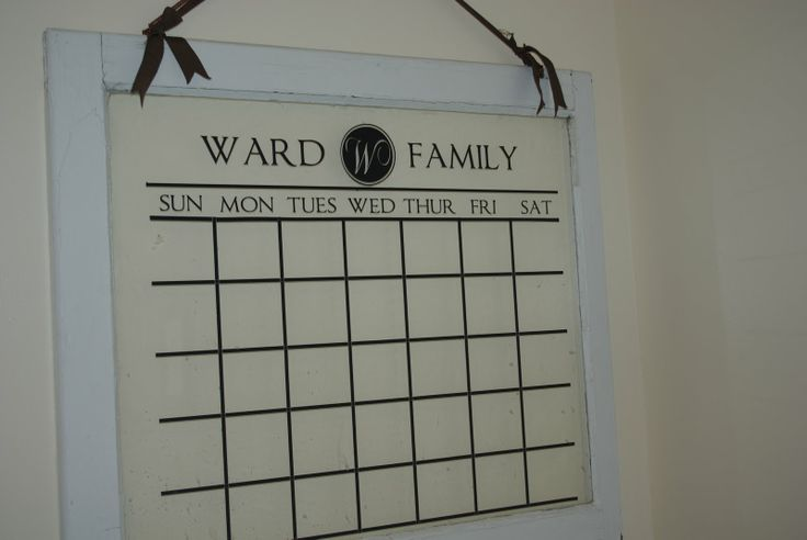 Okay, as much as I love organizing my house should be completely organized...but I LOVE this idea.  Old window meets vinyl cling (use cricut or silhouette) and make reusable, dry erase, CUTE calendar!