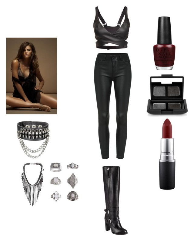 """""""Mazikeen"""" by imawkwardhey ❤ liked on Polyvore featuring Reebok, Rebecca Minkoff, Topshop, OPI, NARS Cosmetics and MAC Cosmetics"""