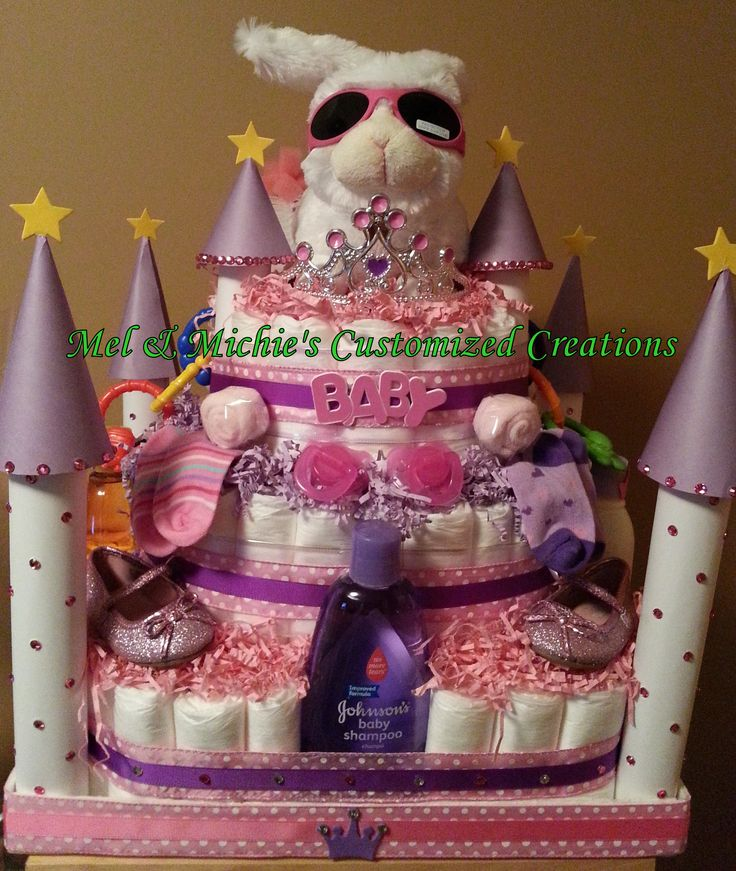 Diaper Castle fit for a princess.  With over 20 items.  Made for a baby shower
