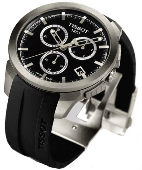Tissot T0694174705100 Mens Watch Titanium Case Rubber Bracelet Chronograph Quartz Black Tone Dial