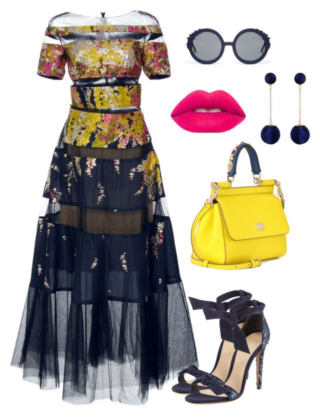 """""""Untitled #398"""" by stylistrr on Polyvore featuring Pamella Roland, Dolce&Gabbana, Alexandre Birman, Lime Crime, Humble Chic and Preen"""