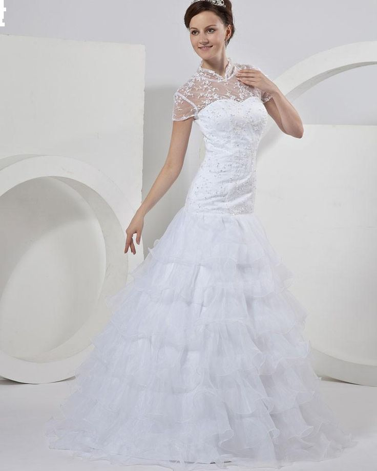 Organza Lace Beading High Neck Mermaid Bridal Gown Wedding Dress