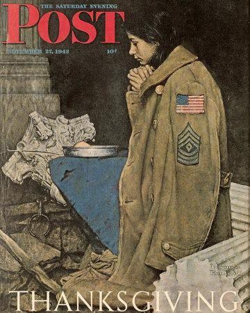 Original Norman Rockwell Paintings | Norman Rockwell Thanksgiving: Girl Praying Saturday Evening Post ...