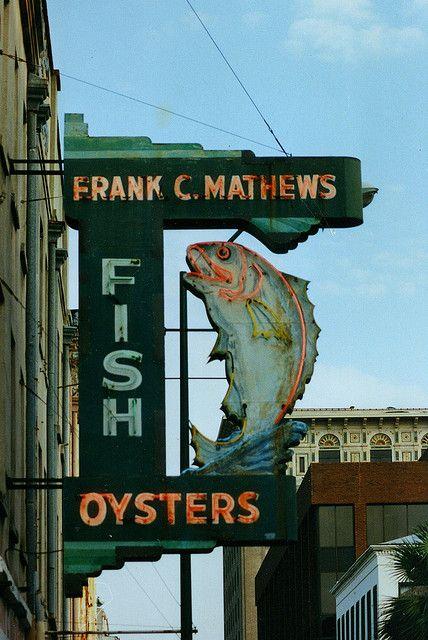 Frank C. Mathews Fish neon sign - Savannah, GA