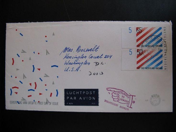 Old vintage letter Luchtpost Par Avion Washington D.C. Returned to Sender