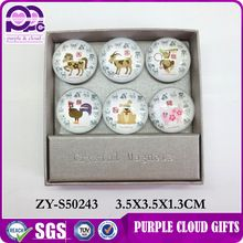 China manufacturers small round 3d glass souvenir fridge magnet for sale
