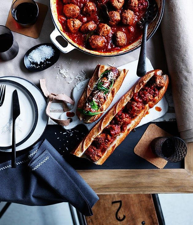 Baked pork and veal meatball sub recipe :: Gourmet Traveller