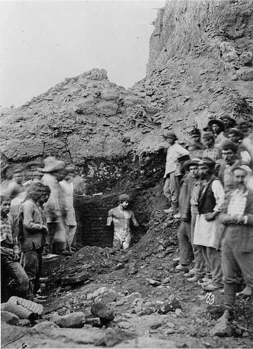 1894, Delphi, Greece. Excavations