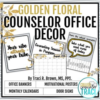 """Here is a school counselor office starter kit golden floral theme! This is a great addition to any school counselor office! Perfect to decorate your hallways, bulletin boards, office and door! Perfect for back to school season or office refresh! This product includes: * 2017 - 2018 (June-June) Monthly Wall Calendars * 7 Inspirational Quote/Statement Posters * 4 """"Take One"""" Poster"""