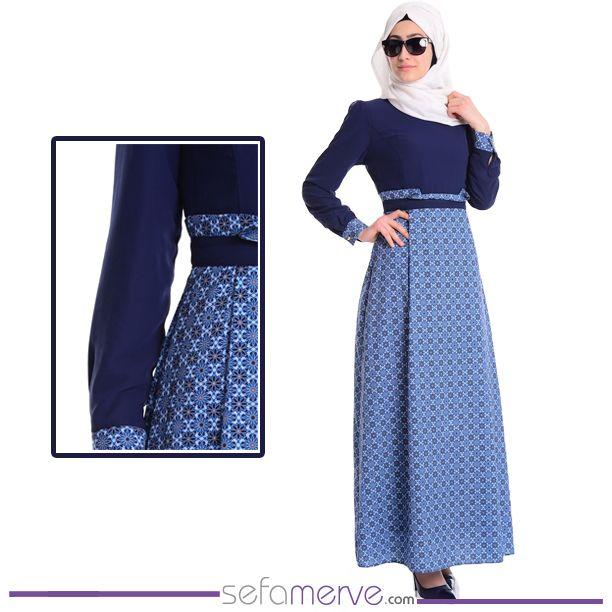 Şifon Emprime Elbise 4045-02 Lacivert  #sefamerve #tesetturgiyim #tesettur #hijab #tesettür #dress