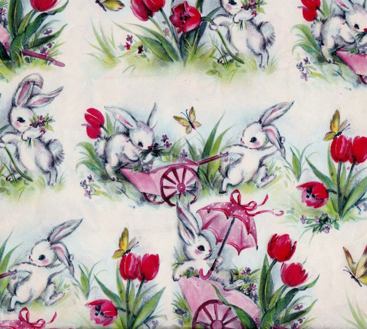 320 best vintage wrapping paper images on pinterest vintage vintage easter bunny gift wrap found at an estate sale http negle Choice Image