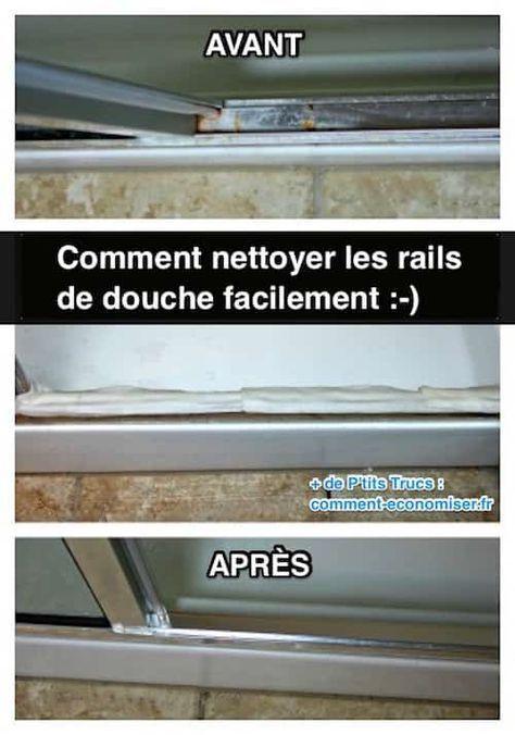 Les rails des portes de douche sont souvent un endroit très sale. C'est vrai que l'on a souvent tendance à oublier de les nettoyer... Résultat, les saletés et les taches d'eau super tenaces s'incrustent dans les rails !   Découvrez l'astuce ici : http://www.comment-economiser.fr/comment-nettoyer-les-rails-de-douche-en-profondeur.html?utm_content=buffer0c221&utm_medium=social&utm_source=pinterest.com&utm_campaign=buffer