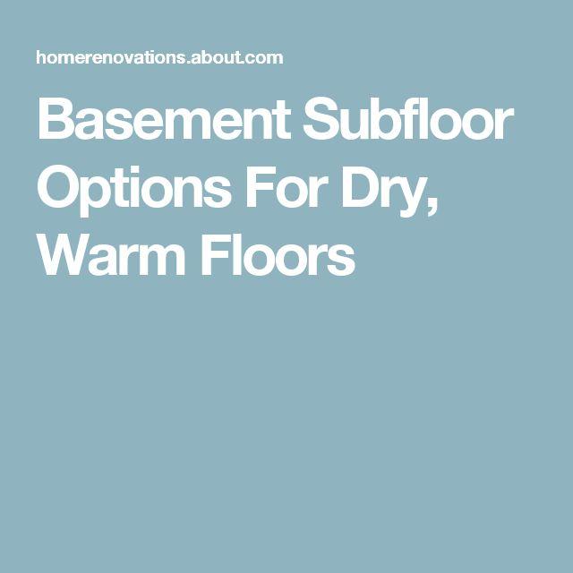 Best basement subfloor options