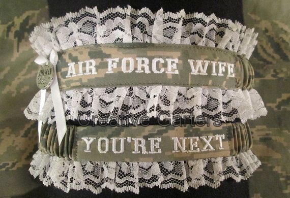 Surprise your Air Man with a military handcrafted garter and watch the look on his face when he sees AIR FORCE WIFE written on your garter! The