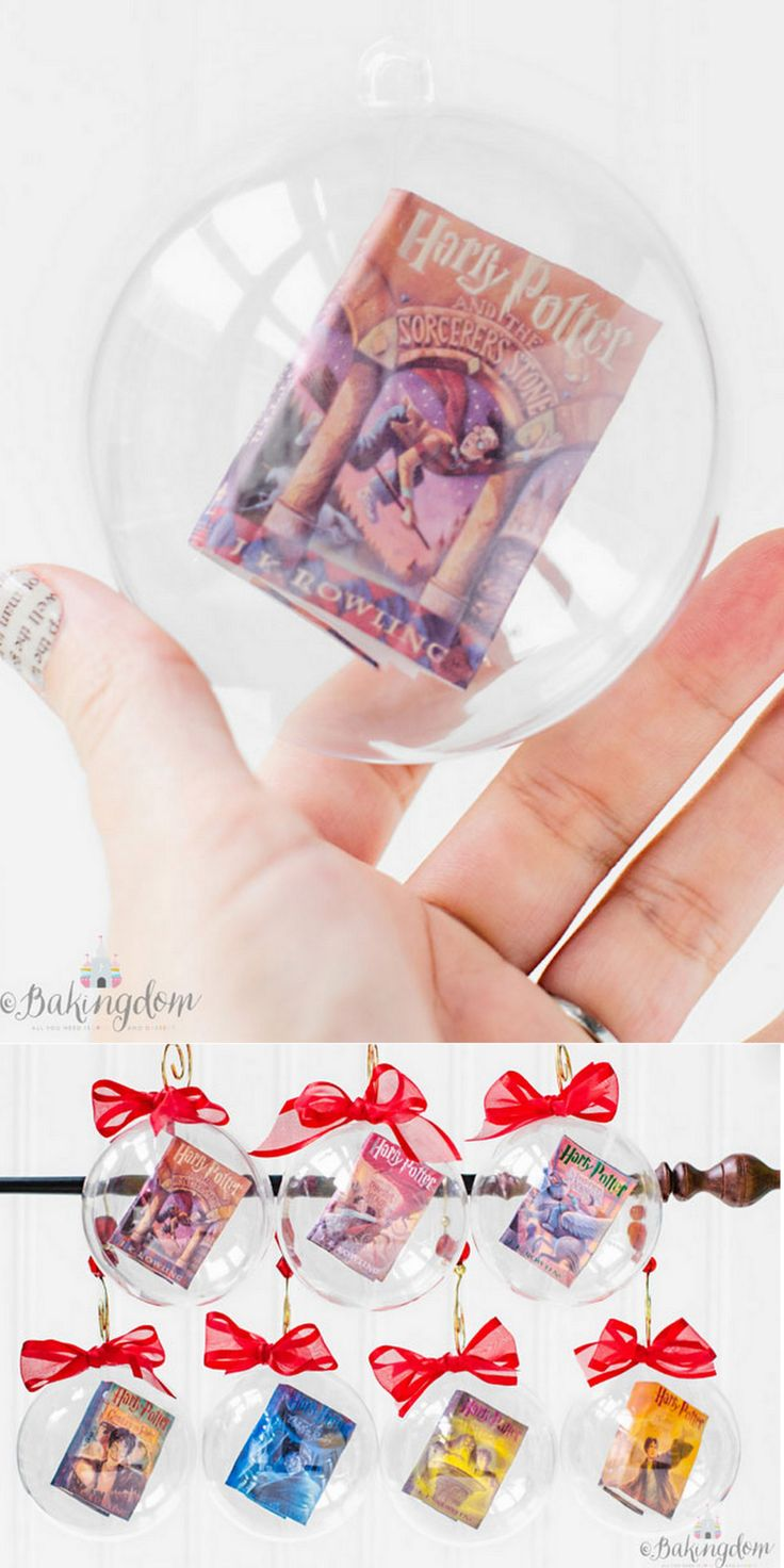 DIY Harry Potter Book Ornaments from Bakingdom.This tutorial shows how to make mini Harry Potter books that appear to float in clear ornaments. I like this tutorial because the miniature book tutorial can be used for so much more than ornaments. For...