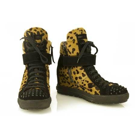 Miu Miu Studded High Wedge Sneaker Shoe Ankle Boot ROCKSTAR Biker Calf Hair 38