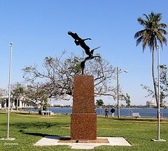 The mate monument in Bryant Park, Lake Worth, FL to the one in Finland. 3 Geese left the homeland, 2 arrived on the distant shore. Makes me want to cry.
