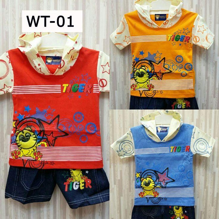 Setelan Pakaian Balita  Kode: WT-01 Motif: Tiger Varian warna: merah, orange, biru (1 seri = 3 pcs)  Kaos dengan penutup kepala. Celana jeans. . . ===================================== . Bagi yang memiliki anak atau keponakan yang masih BALITA, ada kaos dan celana lucu dan bergambar karakter kartun. Pas banget untuk dikasih kado ^_^  Kenapa beli di kami? . . * Bahan cukup tebal dengan warna-warna yang menarik :)   Telegram: @mylapak  WA: 0812-1227-2139  Line: @jho9943c