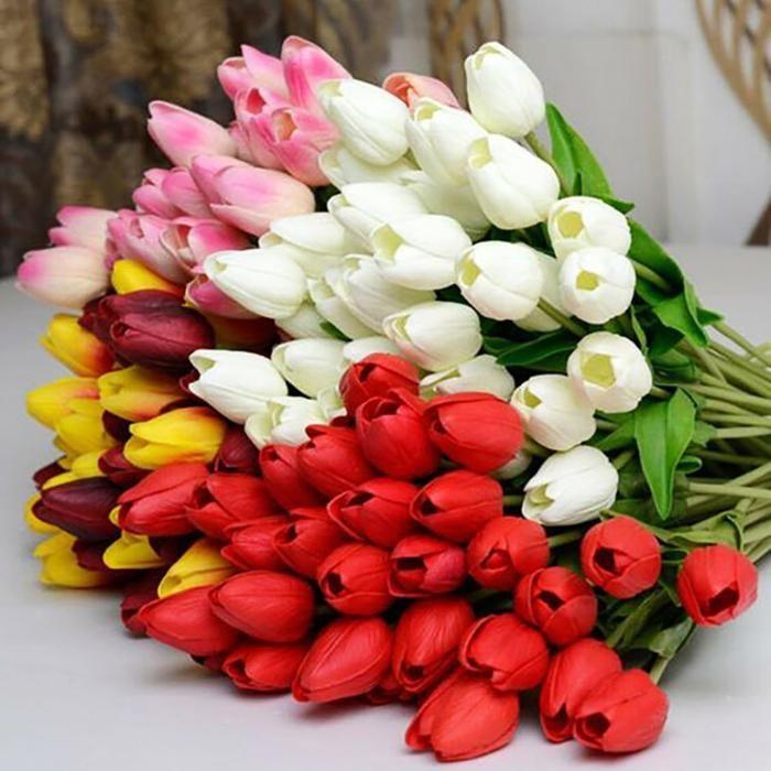 Artificial Tulips Flowers In 2020 Tulips Flowers Flower Bouquet Wedding Flowers