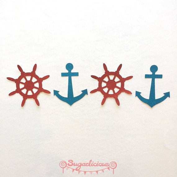 Nautical Bunting / Garland - Anchor & Boat Steering Wheel Red / Blue Glitter Bunting (8 pieces)