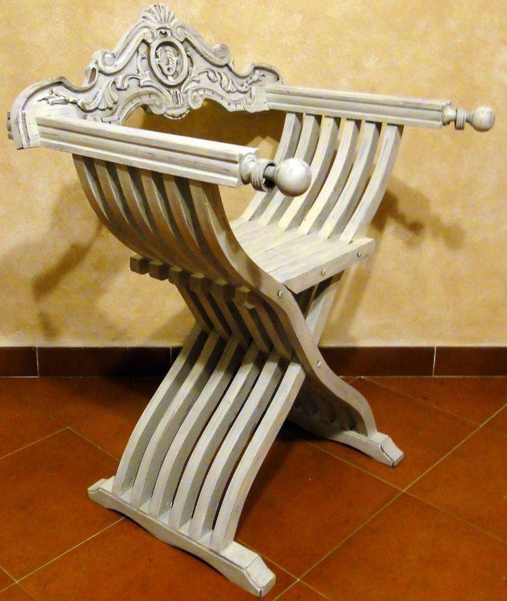 sedia poltrona savonarola pieghevole  country chic tuscany  legno massello
