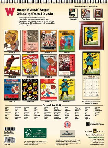 Wisconsin Badgers 2014 Vintage Football Calendar