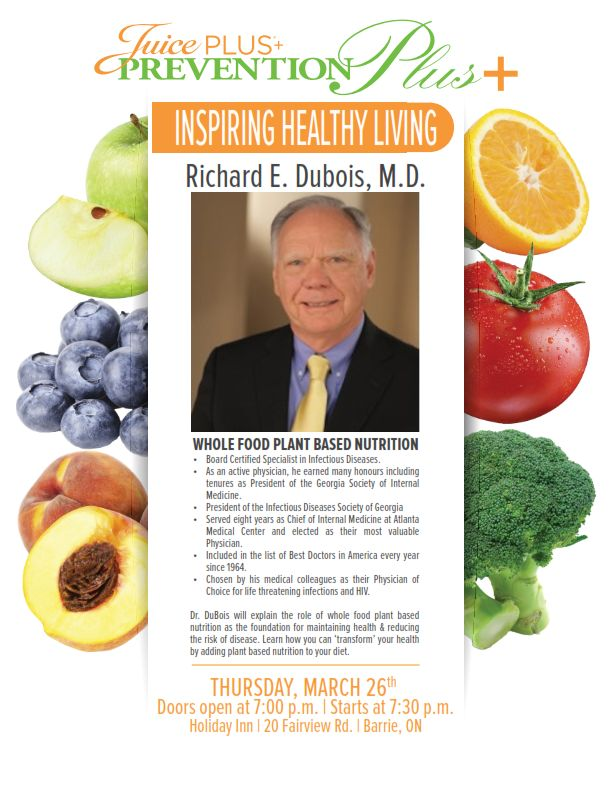 Dr.Dubois will be in Barrie on March 26th to discuss the benefits of using whole food plant based nutrition ‪#‎JPCANADA‬