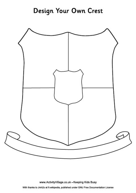 "I will have the students first draw up a pattern using this template... They can add anything they want to it but they have to include 5 different ""sections"" within the Crest and their Family name or Surname in the banner at the bottom"