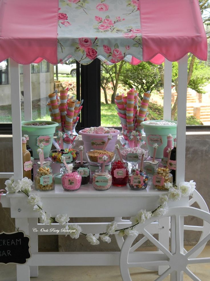 Ice-Cream Cart in pink and mint for a wedding by Co-Ords Party Boutique