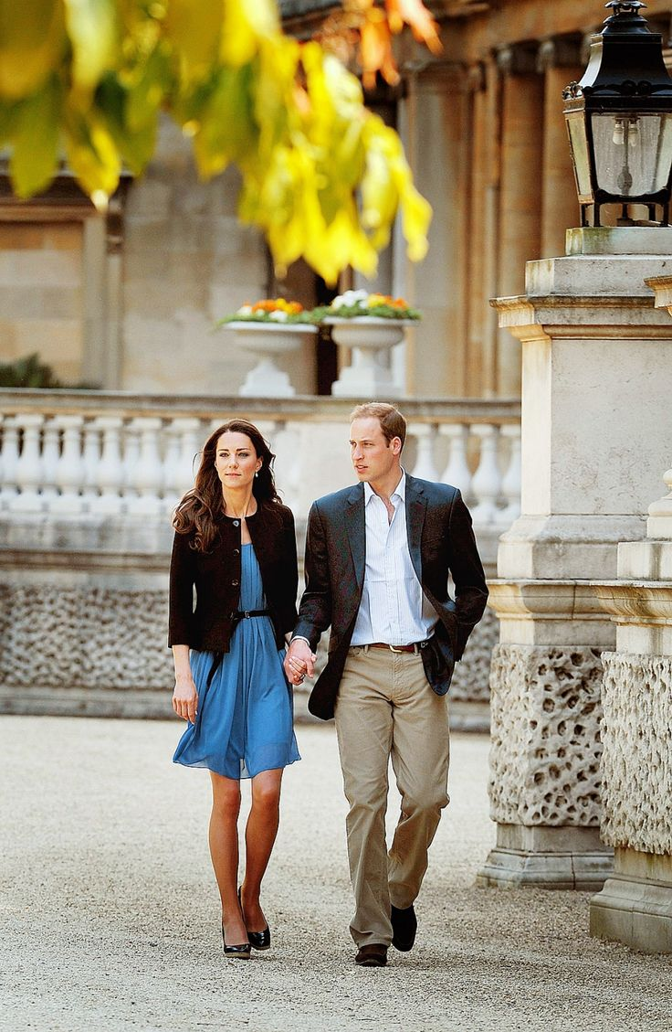 Kate and William on the grounds of Buckingham Palace as the new Duke and Duchess of Cambridge on the day after their 2011 wedding. The newlyweds then boarded a waiting helicopter and flew off to a secluded location for a quiet weekend after yesterday's festivities.